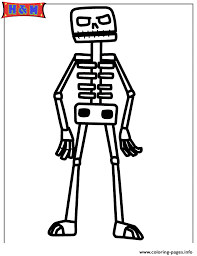 minecraft skeleton coloring pages printable