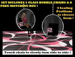 Pink And Black Rug Second Life Marketplace 2 Modern Glass Bubble Chairs Pink Black