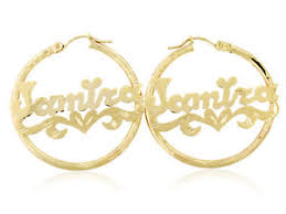 name earrings personalized 10k yellow gold name earrings hoops diamond cut style