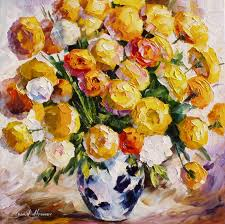 gold bouquet u2014 palette knife oil painting on canvas by leonid