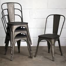 Industrial Dining Chair Set Of 4 Gun Metal Grey Industrial Dining Chair Kitchen Bistro
