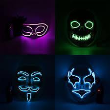 Led Halloween Costume Uk El Wire Light Led Mask Neon Rave Horrific Cosplay Party