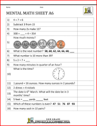 mental math worksheets