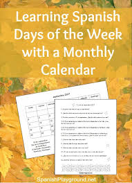 spanish days of the week calendar questions spanish playground