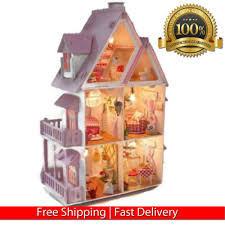 large wooden pieces large wooden doll house kit play dollhouse