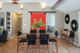 barn door dining table red barn door with full view of dining table transitional