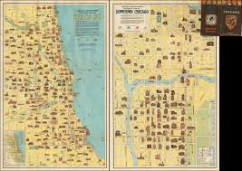 Map Downtown Chicago Vintage Infodesign 157 Visualoop