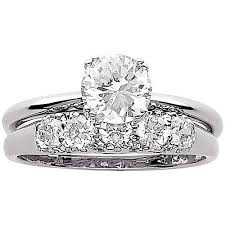wedding ring set for 3 4 carat t g w cz wedding ring set in sterling silver walmart