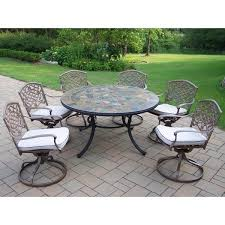 Tuscany Outdoor Furniture by Oakland Living Tuscany Stone Art Swivel Chair Dining Set U0026 Reviews