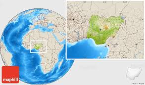 nigeria physical map physical location map of nigeria shaded relief outside