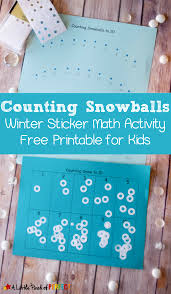 counting snowballs sticker math activity and free printable for