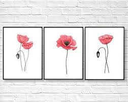 Poppy Home Decor Poppies Set Of 3 Prints Poppy Home Decor Abstract Flower