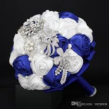 Blue Wedding Bouquets Custom Made Royal Blue White Bridal Bouquets For Garden Wedding