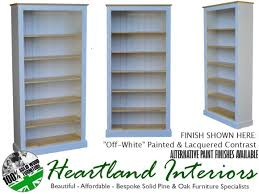 white or cream painted solid pine bookcase 6ft x 3ft shelving unit