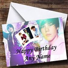 justin bieber pink hearts personalised birthday card the card zoo