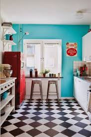 Retro Kitchen Design Ideas Red Retro Kitchen Warm Paint Accent Wall Colors Black Dining Table
