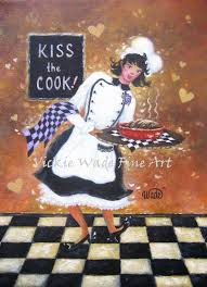Lady Chef Art Print girl chef fat chef paintings woman