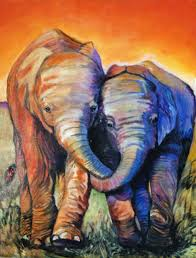 sue conditt two baby elephants 2016 acrylic painting
