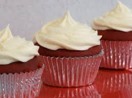 red velvet cupcakes with cream cheese frosting someone left the
