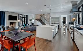 kitchen wooden floor white modern kitchen island modern dining