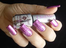 new mani pink chrome with hand drawn design