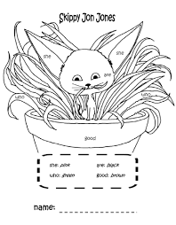 skippy jon jones coloring page with sight words that i made