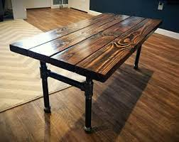 wood and pipe table industrial pipe etsy