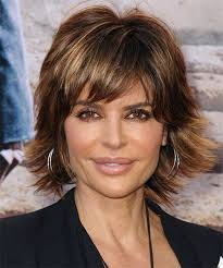 what is the texture of rinnas hair lisa rinna short straight casual hairstyle with razor cut bangs