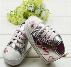 walking sneaker toddler baby silver crib heart soft shoes 0