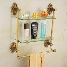 discount brass glass shelf bathroom shelf shelves antique bronze