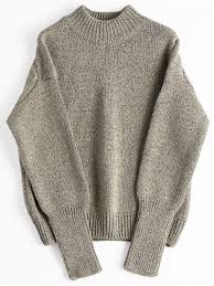 brown sweater heathered mock neck sweater greyish brown sweaters one size