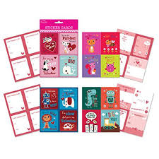 school valentines school day sticker cards pack of 64 cards