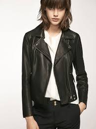 biker waistcoat biker style black nappa jacket women massimo dutti