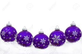 purple ornaments with snowflakes and snow isolated