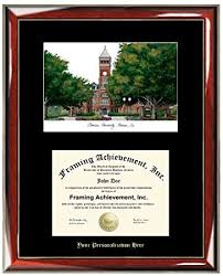 clemson diploma frame buy gold embossed personalization boston bu lithograph