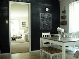 black chalkboard wall simple white wooden chair white wooden table