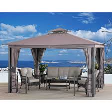 Garden Treasures 10 X 10 Aluminum Gazebo by 12ft X 10ft Gazebo Outdoor Structures Compare Prices At Nextag