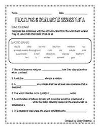 ideas of mixtures and solutions worksheets for reference