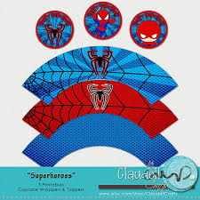superheros spiderman inspired printable cupcake wrapper topper