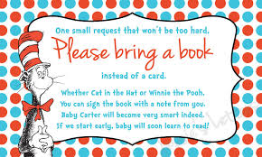 instead of a card bring a book bring a book instead of a card insert custom made dr suess bring a