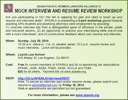 Job Interview Resume by Mock Interview U0026 Resume Review Workshop Apawla