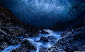 starry winter night over mountain river full hd wallpaper and