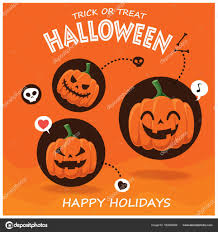vintage halloween poster design with vector jack o lantern
