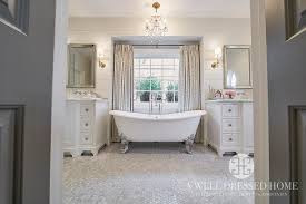 crystal droplets fringe chandelier over bathtub transitional