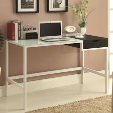 White Glass Computer Desk by Contemporary Two Tone White And Black Desk With Frosted Glass Top