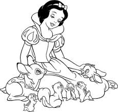 snow white coloring pages with animals coloringstar
