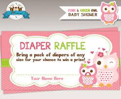 raffle baby shower green owl baby shower raffle