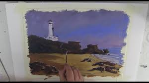learn to paint tv e25 point lonsdale lighthouse acrylic painting tutorial beginners painting