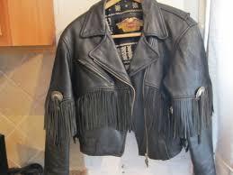 retro motorcycle jacket vintage harley davidson women leather size medium jacket fringed