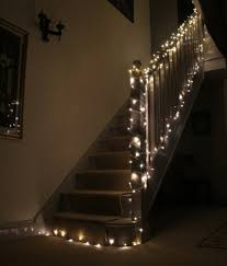 Christmas Banisters Staircase Fairy Lights Using Led Christmas Lights Around The Home